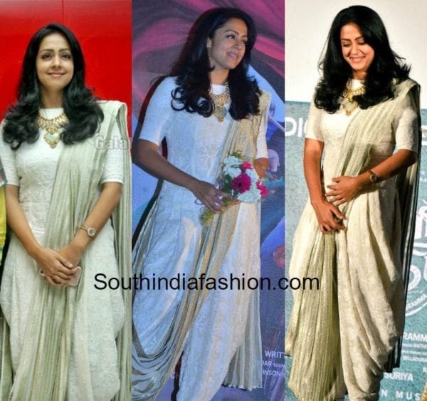jyothika dhoti saree Magalir Mattum Audio Launch 600x563