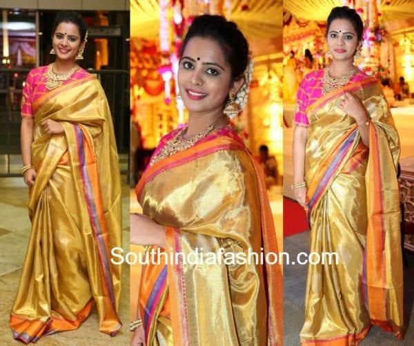 manasa himavarsha silk saree kalamandir cmd daughter wedding 600x501