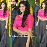 Megha Akash in a long skirt and crop top
