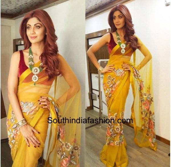 6 Unique Shilpa Shetty Saree Styles South India Fashion