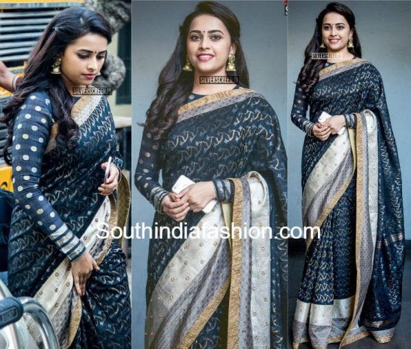 sridivya-black-saree-full-sleeves-blouse-Sangili-Bungili-Kadhava-Thorae-Audio-Launch