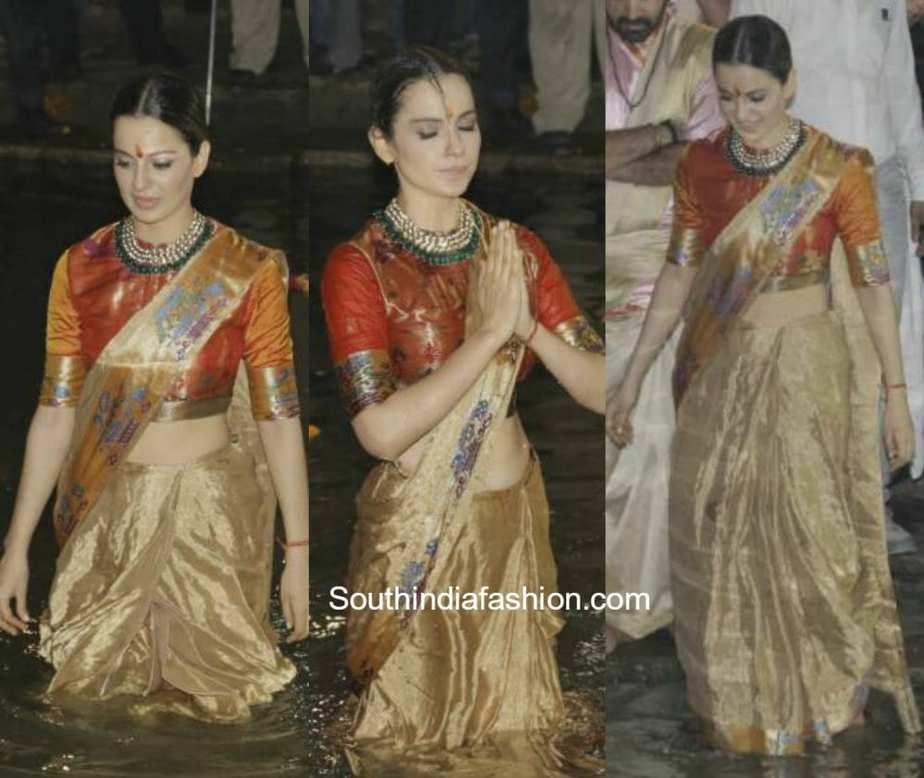 Trends 2017 fashion india - Kangana Ranaut In A Banarasi Silk Saree South India Fashion