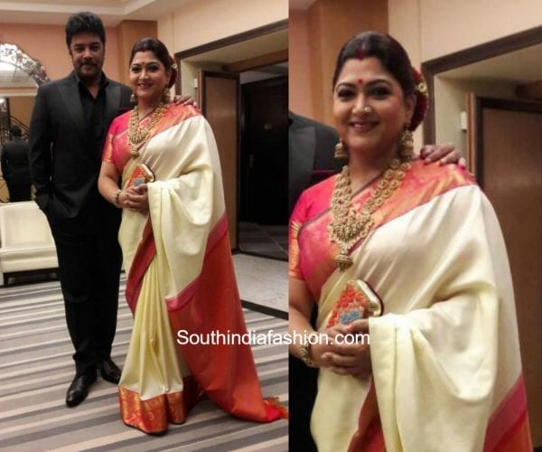Khushboo in a kancheejavaram saree at Cannes Film Festival 600x500