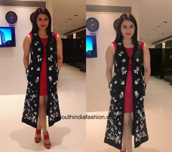 Mannara Chopra in a western outfit at Oppo Phone Launch