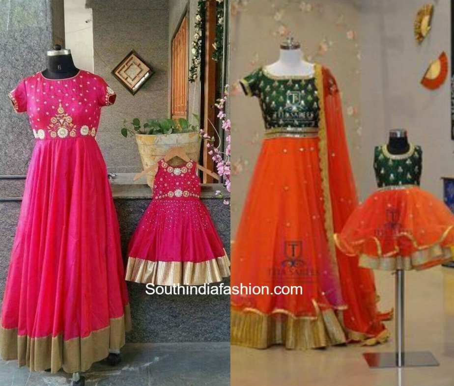 Matching mother daughter dresses south india fashion for Mother daughter dresses for weddings