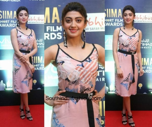 Pranitha Subhash in a floral dress at SIIMA Short Film Awards 600x502