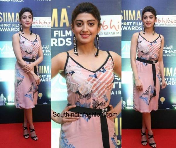 Pranitha Subhash in a dress at SIIMA Short Film Awards