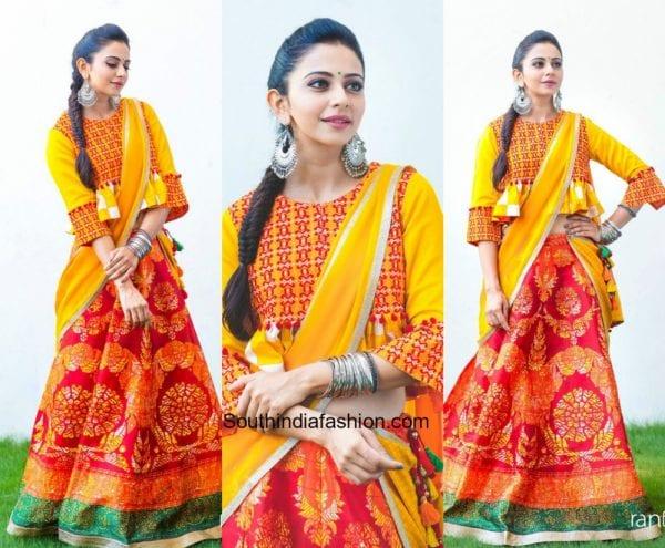Rakul Preet Singh in Ritu Kumar for Ra Randoi Veduka Chudam Promotions 600x495
