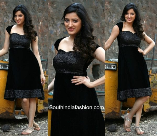 Richa Panai in a black dress 600x521