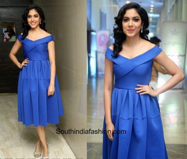 Ritu Varma in a blue off shoulder dress at Keshava Audio Launch 600x511