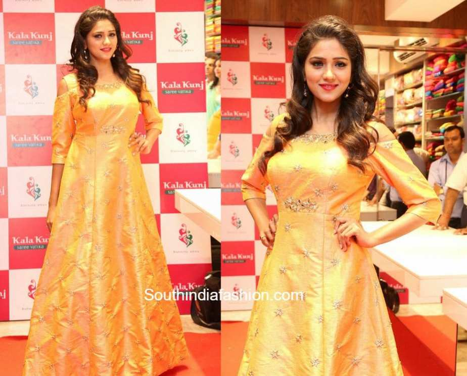 Shalu Chourasia in a cold shoulder gown at Kala Kunj Launch