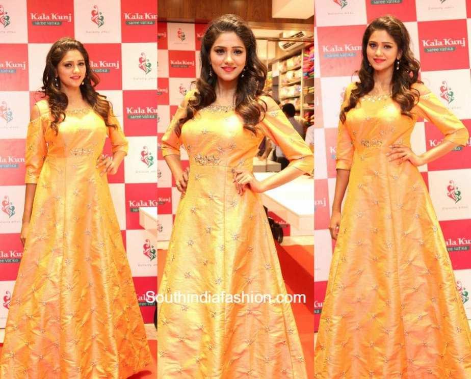 Shalu Chourasiya in a cold shoulder gown at Kala Kunj Launch