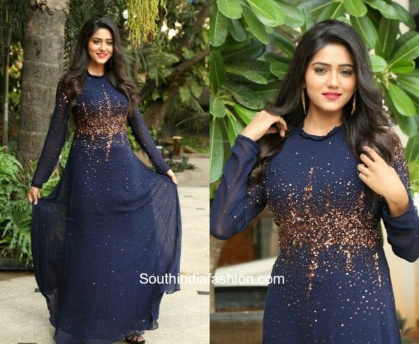 Shalu Chourasiya in a navy blue embellished gown 1
