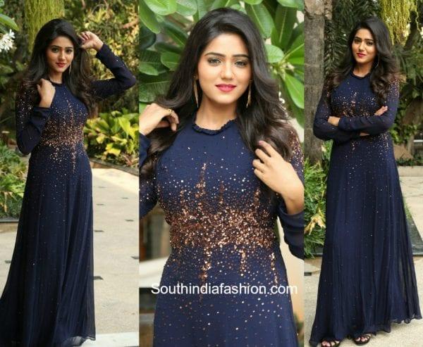 Shalu Chourasiya in a navy blue embellished gown