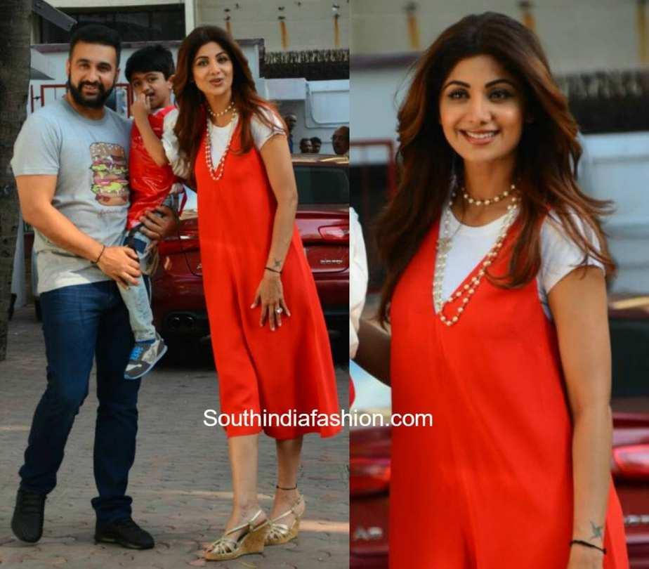 Shilpa Shetty in a Red Dress –South India Fashion