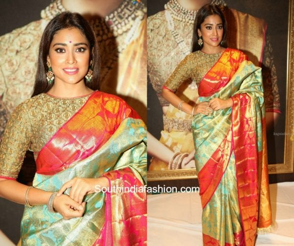 Shriya Saran in a kanjeevaram saree at VRK Silks Launch 1 600x503