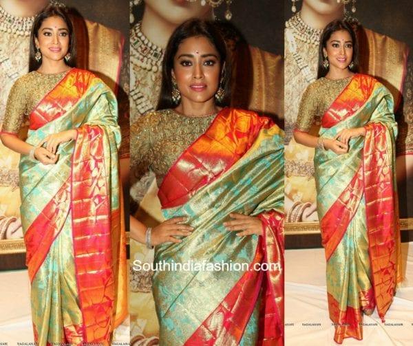 Shriya Saran in a kanjeevaram saree at VRK Silks Launch