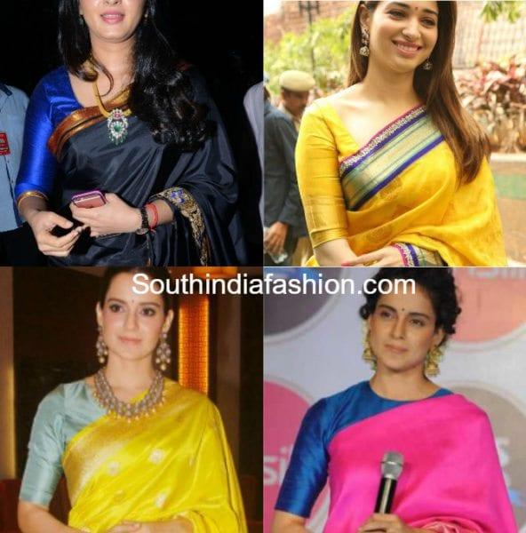 banarasi saree with plain elbow sleeves blouse