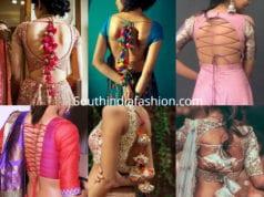 saree blouse back dori designs
