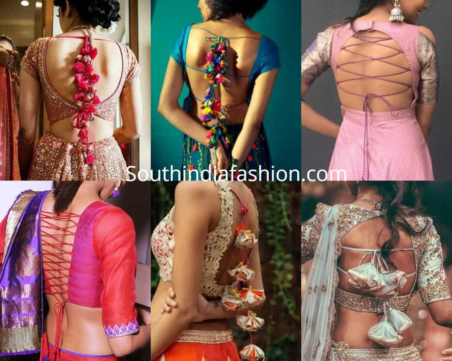 saree blouse back dori designs