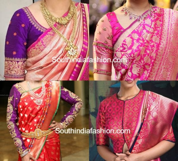 blouse designs for banarasi silk sarees 600x543