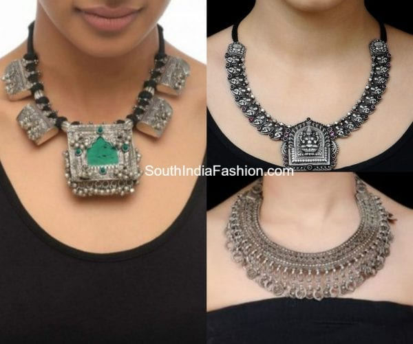 metallic-jewelry-on-saree