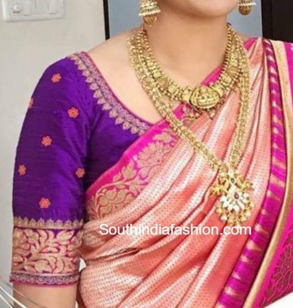 maggam-embroidered-blouse-with-banarasi-silk-sarees