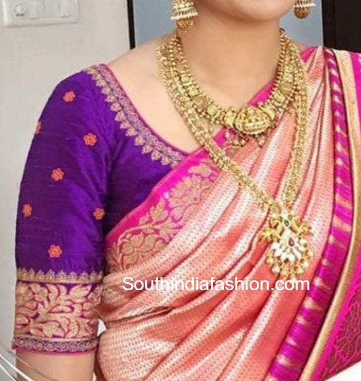 8 Stunning Blouse Patterns For Banarasi Silk Sarees South India