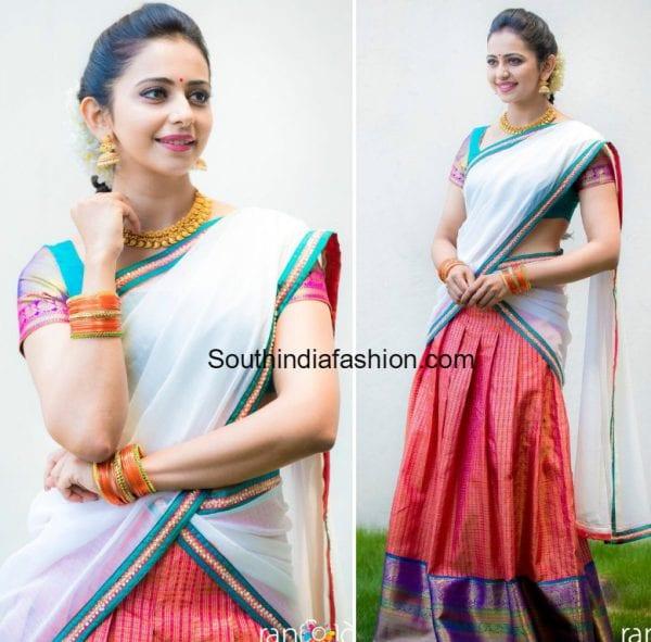 rakul-preet-singh-bhargavi-kunam-half-saree-rarandoi-promotions