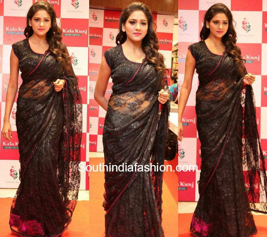 shalu-chaurasia-black-lace-saree