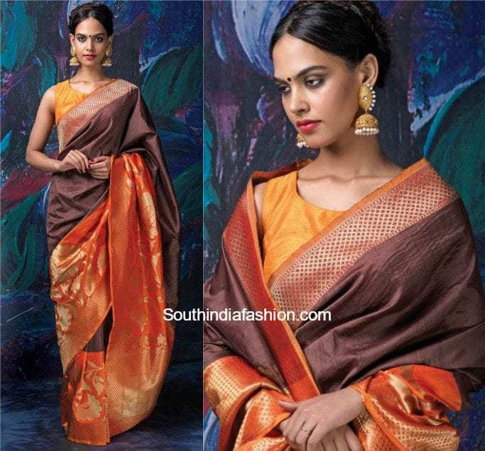98fece1ee865b We all have our favorite sleeveless blouse. Any simple sleeveless blouse  with the right contrast to the banarasi saree will make you look  effortlessly ...