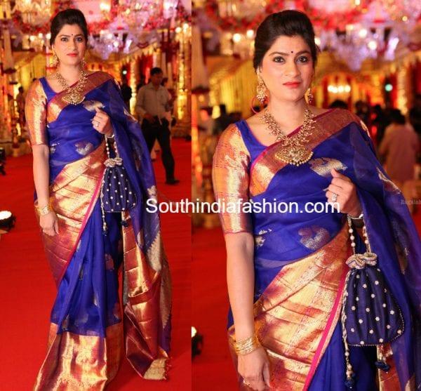 wedding guest blue kanchi organza saree 600x557