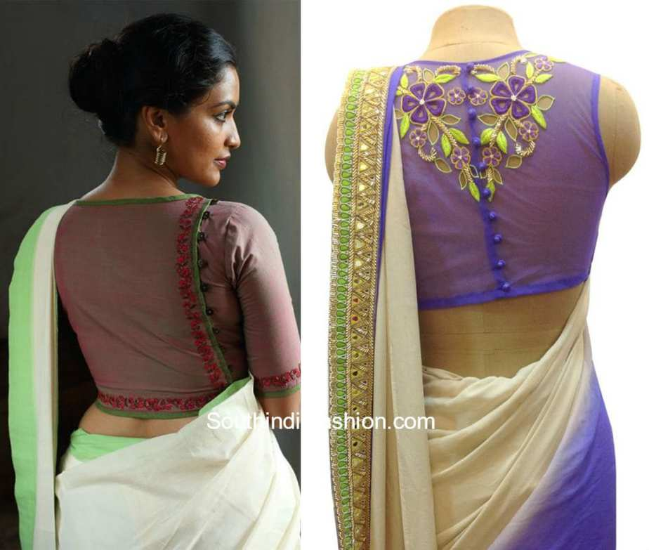 Button Back Blouse Designs South India Fashion