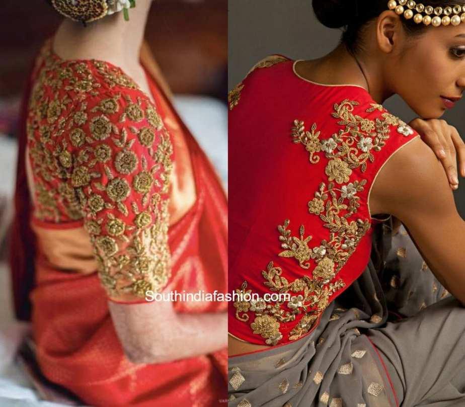 zardosi work blouse designs