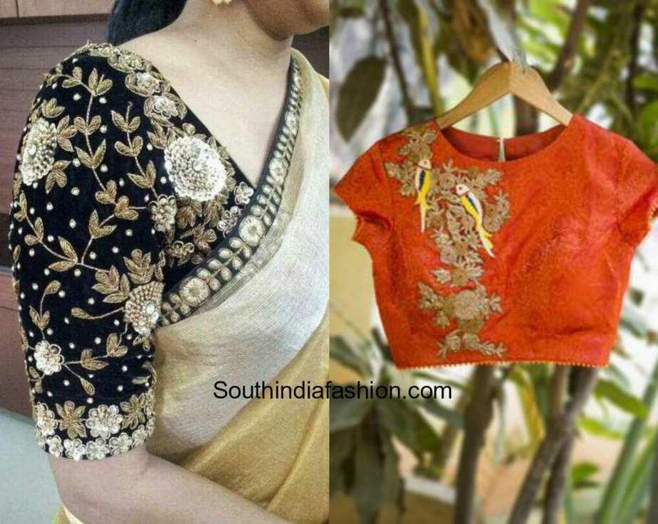 Evergreen floral zardosi blouse designs south india fashion