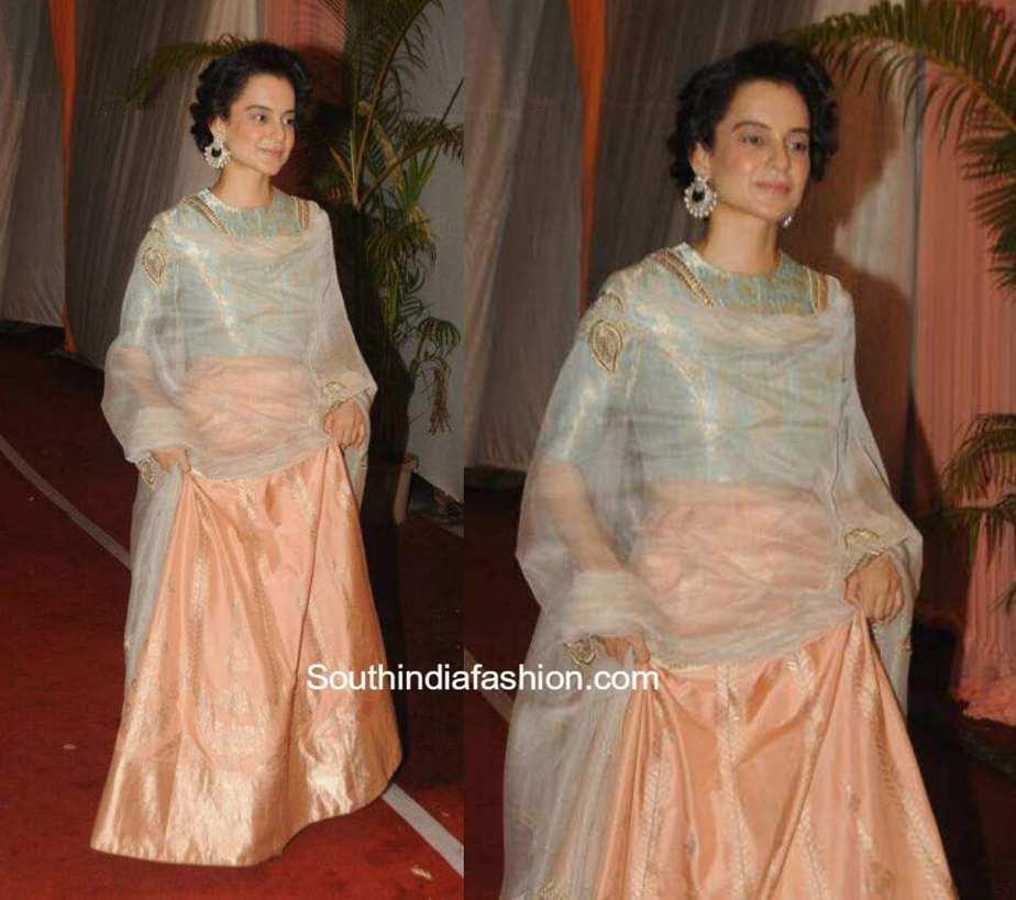 Kangana Ranaut in a Raw Mango lehenga at a wedding reception