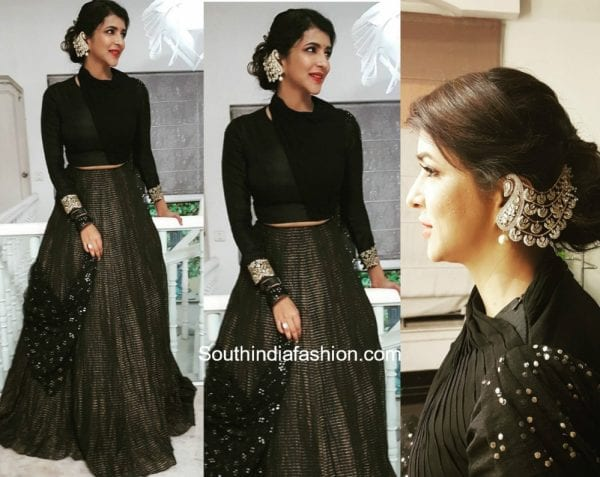 Lakshmi Manchu in a lehenga by Kria for an engagement 1 600x477