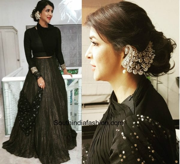 Lakshmi Manchu in a lehenga by Kria for an engagement 600x546