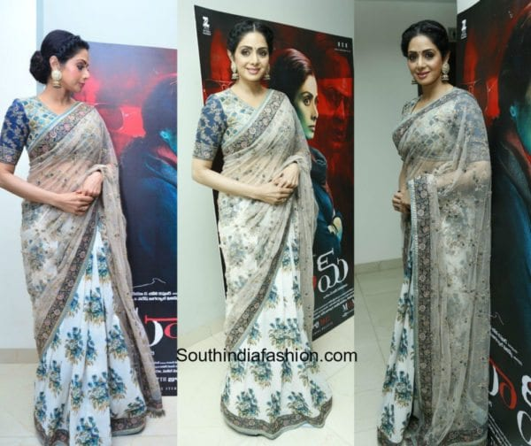 Sridevi Kapoor in Sabyasachi for Mom Promotions in Hyderabad 600x504