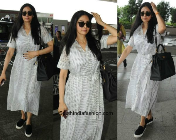 Sridevi Kapoor in a midi dress at the airport 600x479