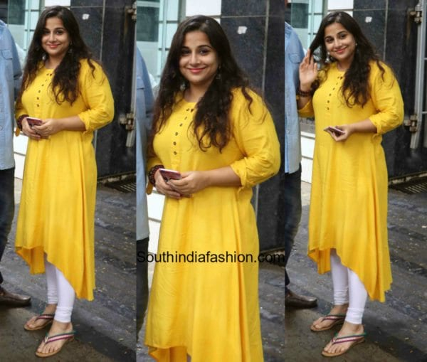 Vidya Balan in a simple yellow kurta 600x509