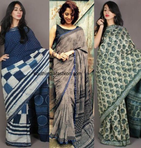 block printed sarees1 572x600