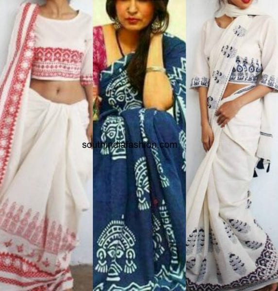 block print sarees