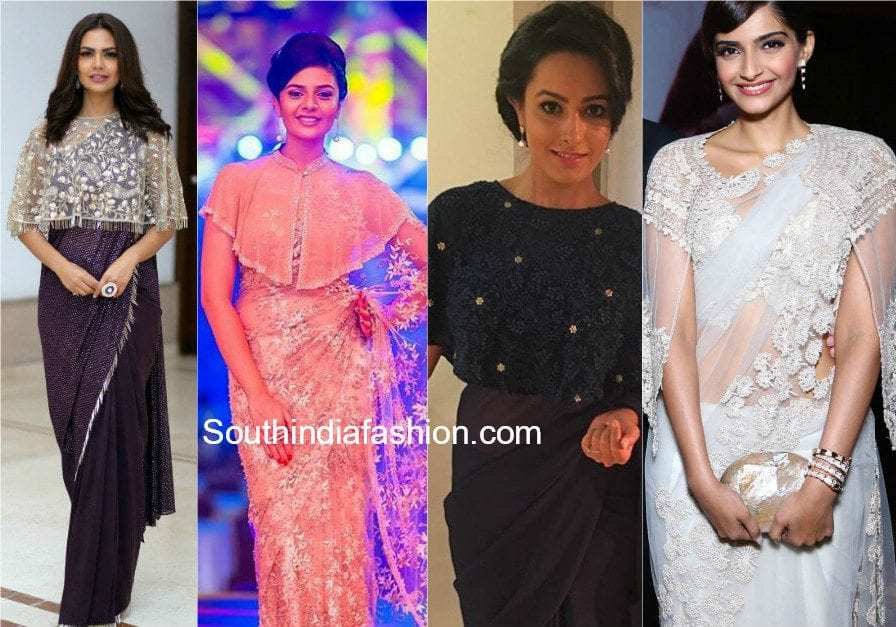 cape blouses with sarees and lehengas