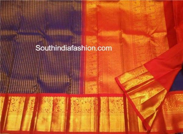 checkered kanjeevaram saree 600x441