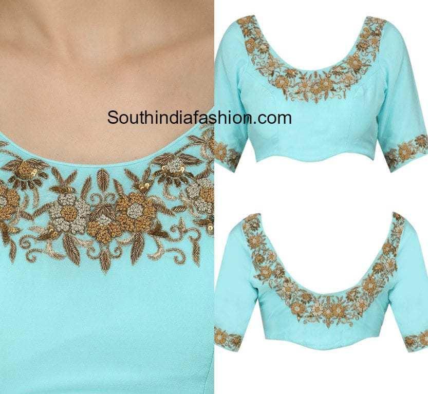 Floral zardosi work blouse designs south india fashion