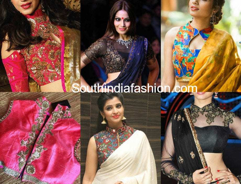 high neck blouse designs with sarees