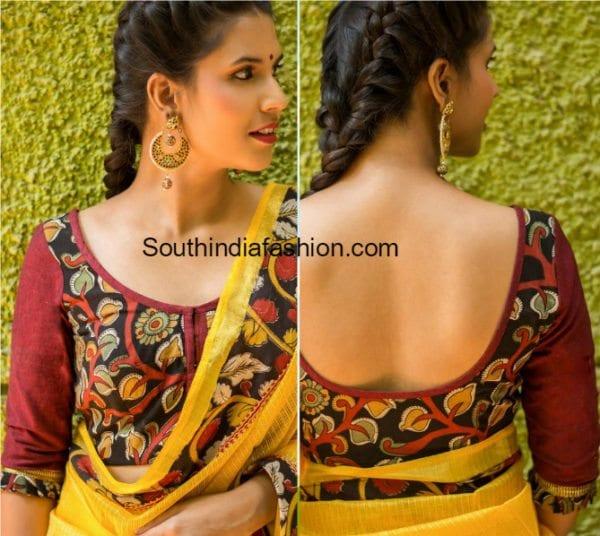 kalamkari blouse models 600x536