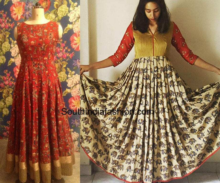 Flaunt The Kalamkari Maxi Gowns –South India Fashion