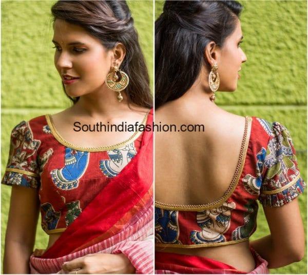 kalamkari saree blouse 600x536